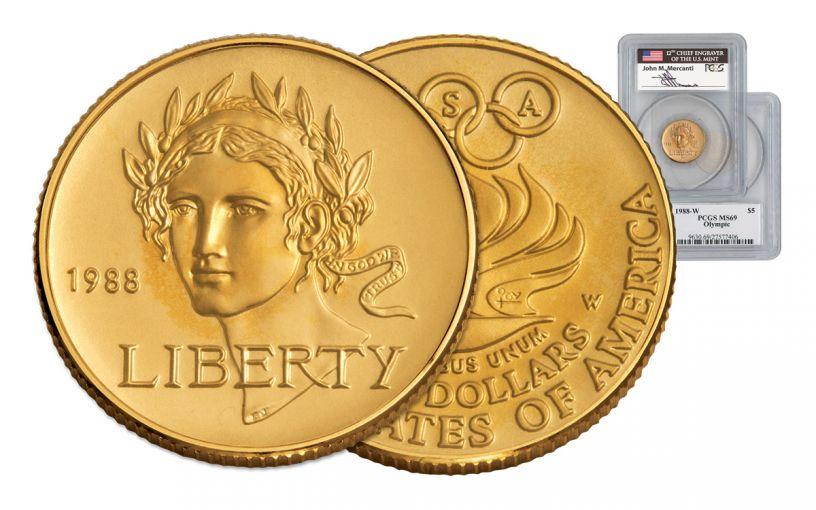 1988-W 5 Dollar Gold Seoul Olympiad PCGS MS69 Mercanti Signed