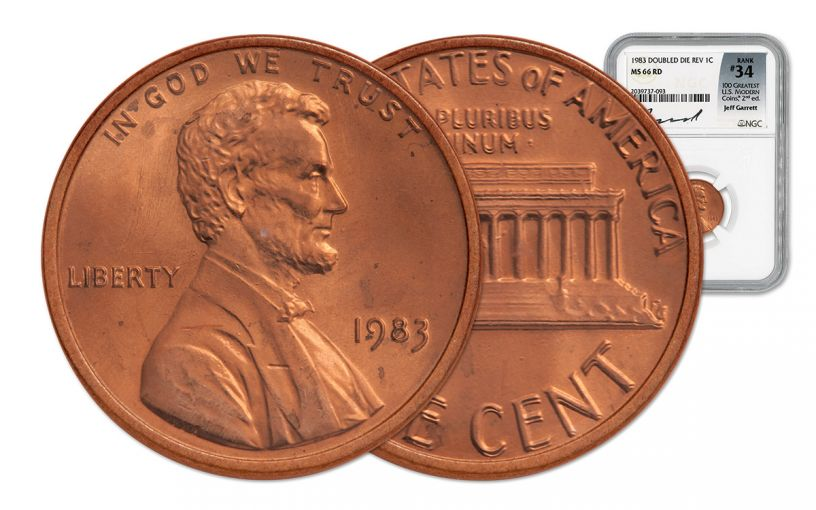 1983 Lincoln Cent Doubled Die Red NGC MS66 Garrett Signed - 100 Greatest Coins