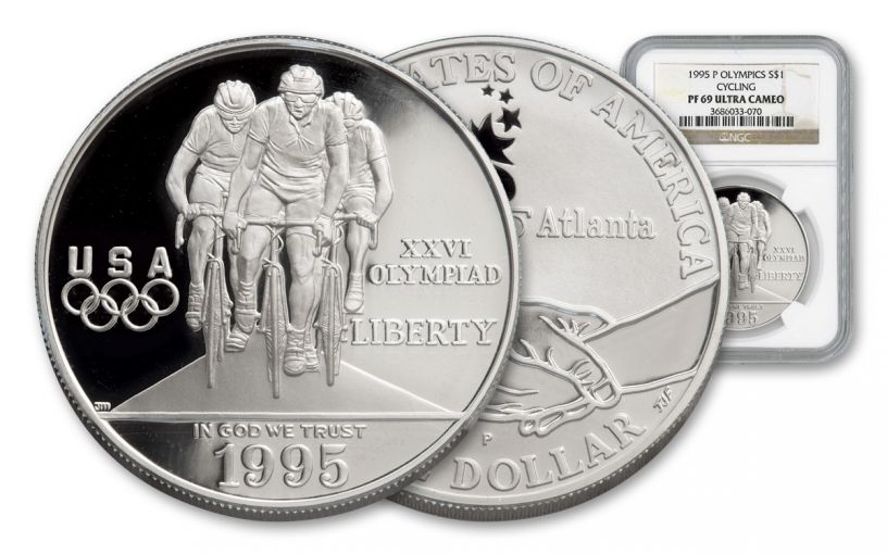1995-P 1 Dollar Silver Cycling NGC PF69UCAM