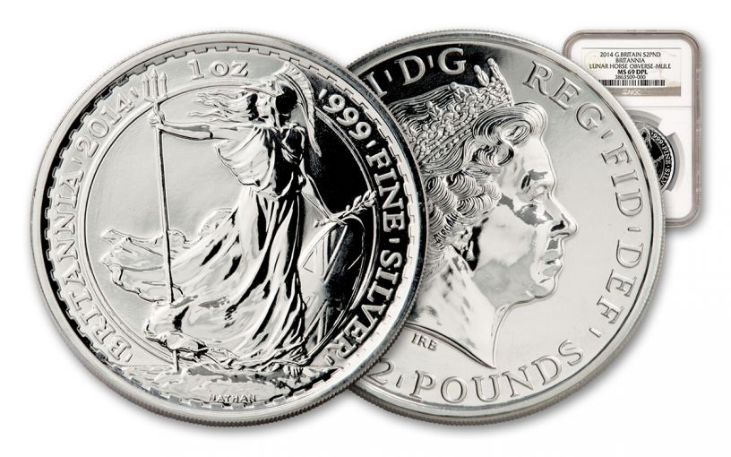 2014 Great Britain 2 Pound 1-oz Silver Britannia Mule NGC MS69 Deep Proof-Like