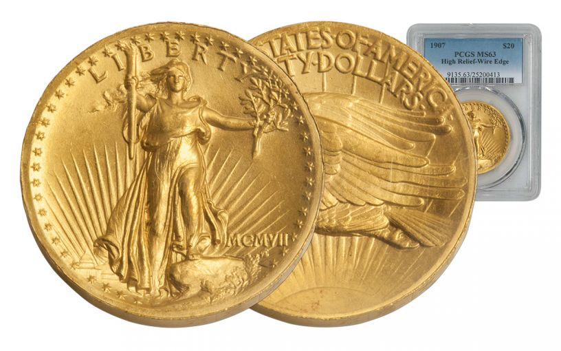 1907 20 Dollar Gold Saint Gaudens High Relief PCGS MS63 Wire Edge