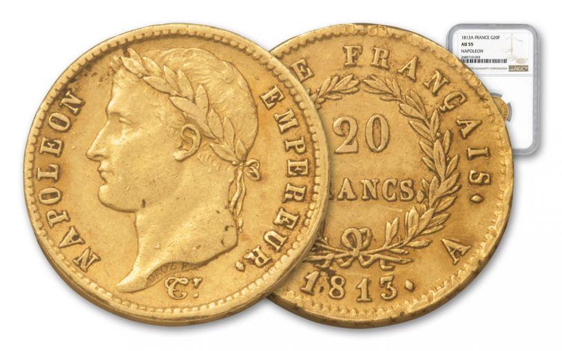 1813-A France 20 Franc Napoleon I NGC AU55