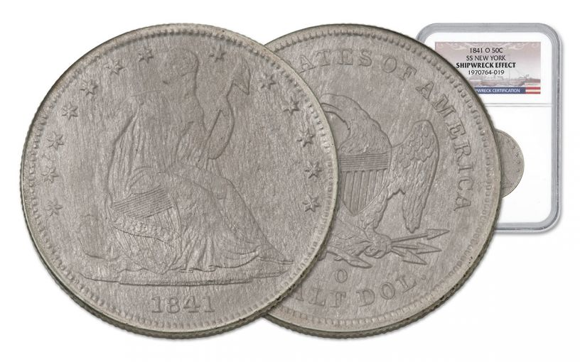 1841-O Half Dollar Silver Seated Liberty NGC S.S. New York Shipwreck