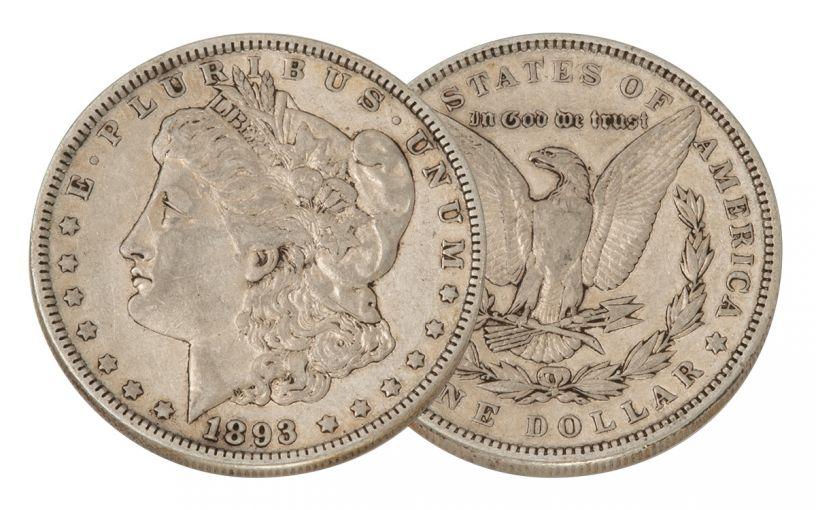1893-P Morgan Silver Dollar VF