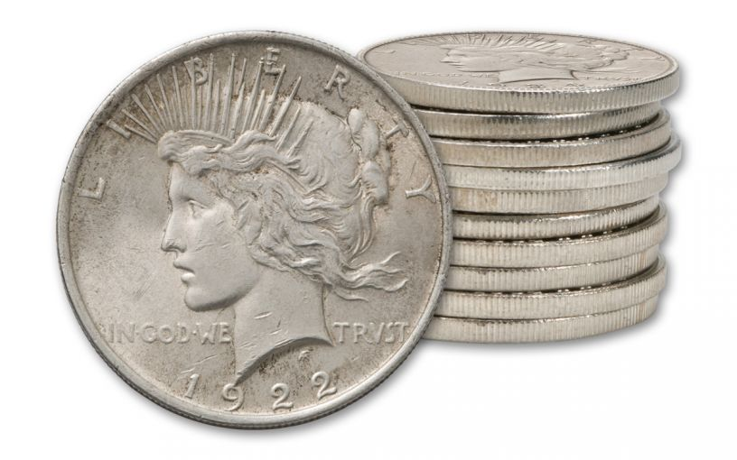 1922-1935 1 Dollar Peace Silver XF 10pc
