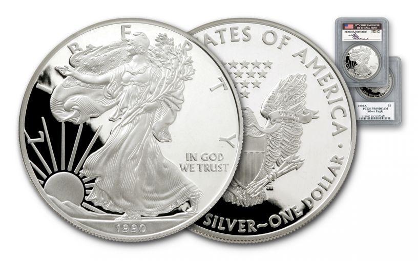 1990 1 Dollar 1-oz Silver Eagle PCGS PR69 DCAM Mercanti Signed