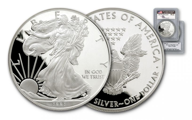 1991 1 Dollar 1-oz Silver Eagle PCGS PR69 DCAM Mercanti Signed