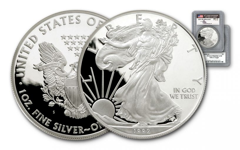 1992 1 Dollar 1-oz Silver Eagle PCGS PR69 DCAM Mercanti Signed