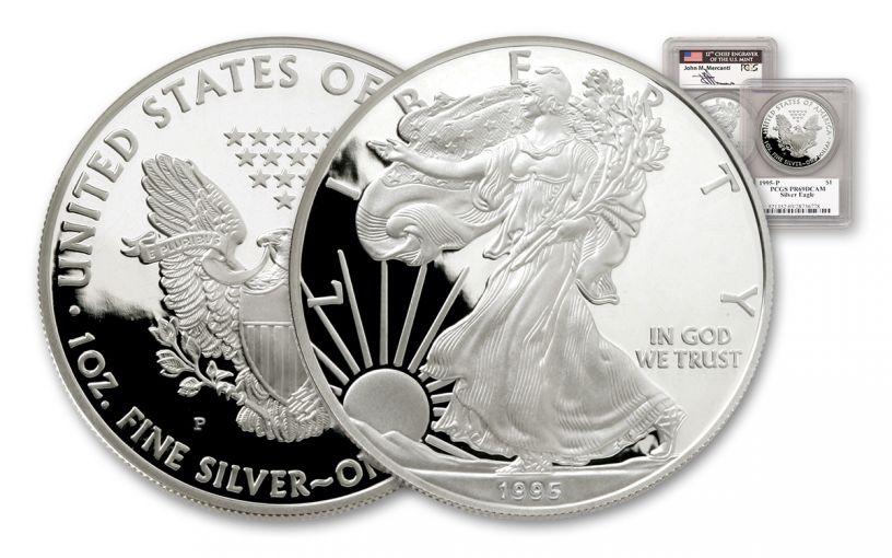 1995 1 Dollar 1-oz Silver Eagle PCGS PR69 DCAM Mercanti Signed