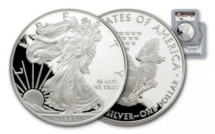 1998 1 Dollar 1-oz Silver Eagle PCGS PR69 DCAM Mercanti Signed
