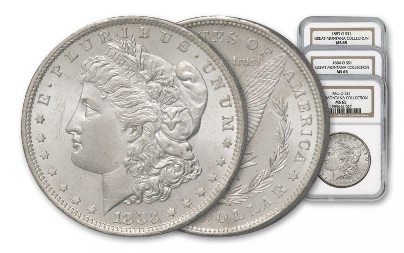 1883-1885-O Morgan Silver Dollar NGC MS65 - Great Montana Collection 3pc Set