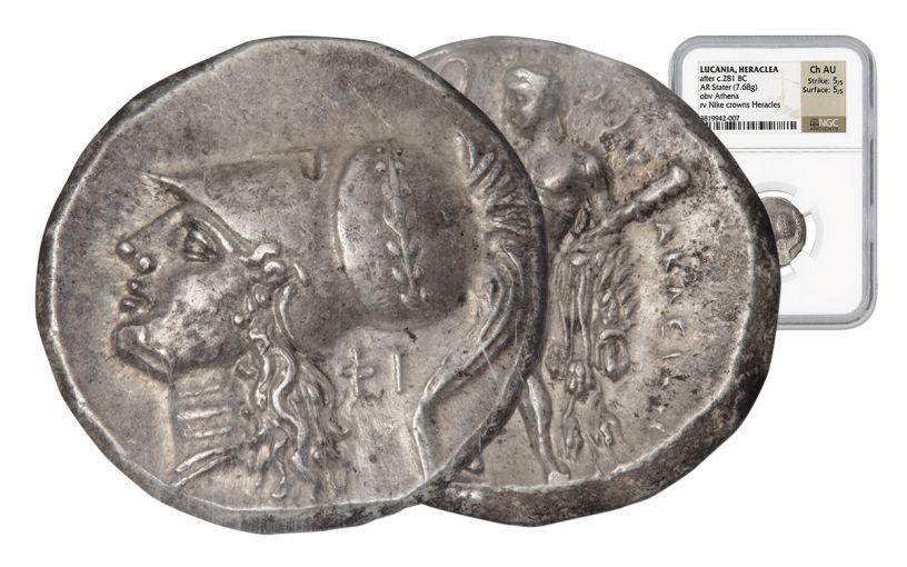 281-278 BC Herakleia AR Stater of Athena NGC CH AU