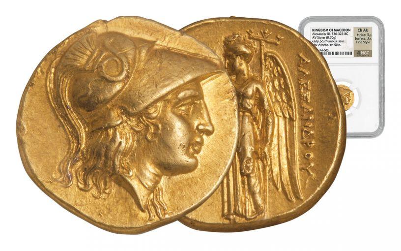 323-319 BC Macedon Gold Stater Alexander III NGC CH AU