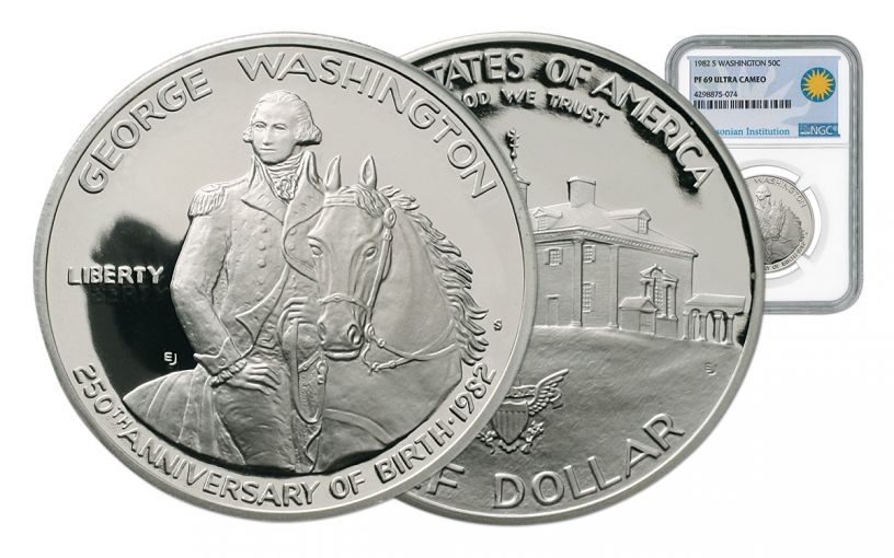 1982-S 50 Cent Silver Washington Commemorative NGC PF69UCAM Smithsonian Coin Classics