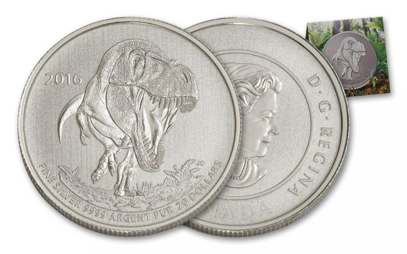2016 Canada 20 Dollar 1/4-oz Silver Tyrannosaurus Rex Specimen