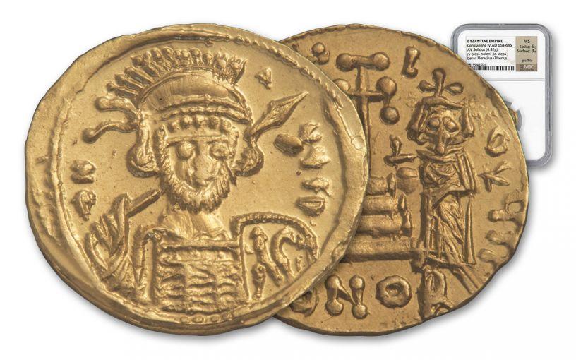 Byzantine Gold Heraclius Solidus NGC MS