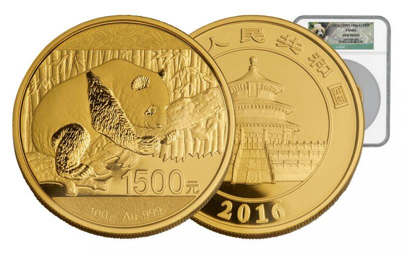 2016 Panda 100 Gram Gold Proof NGC Gem Proof