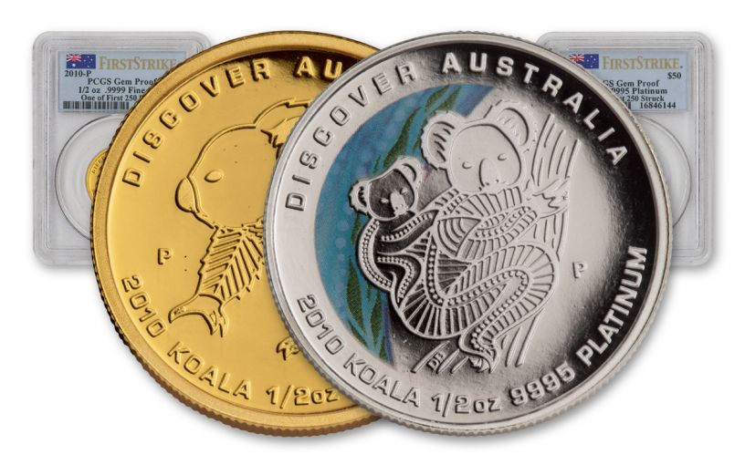 2010 Australia 1/2-oz Gold/Platinum Koala Proof PCGS GEM 2pc Set