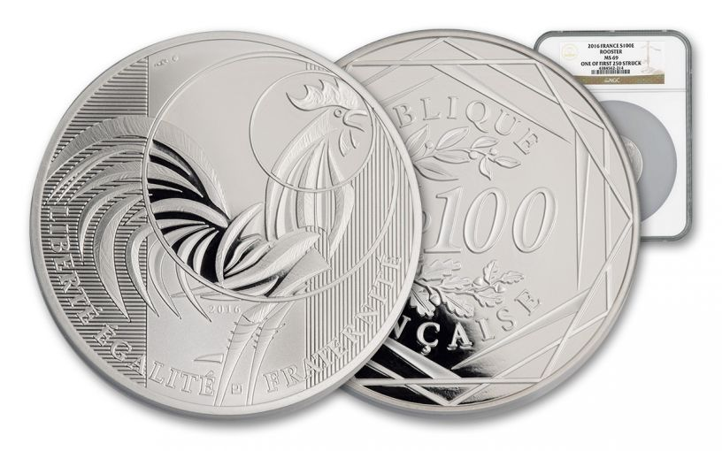 2016 France 100 Euro Silver Rooster NGC MS69 First Struck