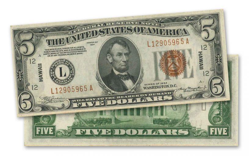 "1934 U.S. 5 Dollar Federal Reserve Notes ""Hawaii"" Mule PCGS 63"