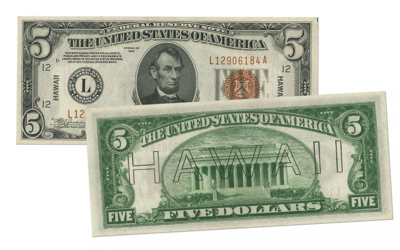 "1934 U.S. 5 Dollar Federal Reserve Notes ""Hawaii"" Mule PCGS 66PPQ"