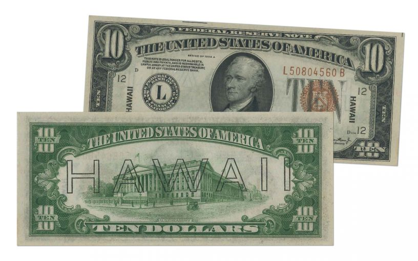"1934-A U.S. 10 Dollar Federal Reserve Notes ""Hawaii"" Mule PMG/PCGS 64PPQ/EPQ"