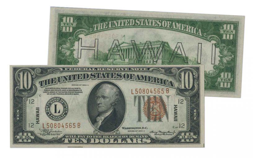 "1934-A U.S. 10 Dollar Federal Reserve Notes ""Hawaii"" Mule PMG/PCGS 65PPQ/EPQ"