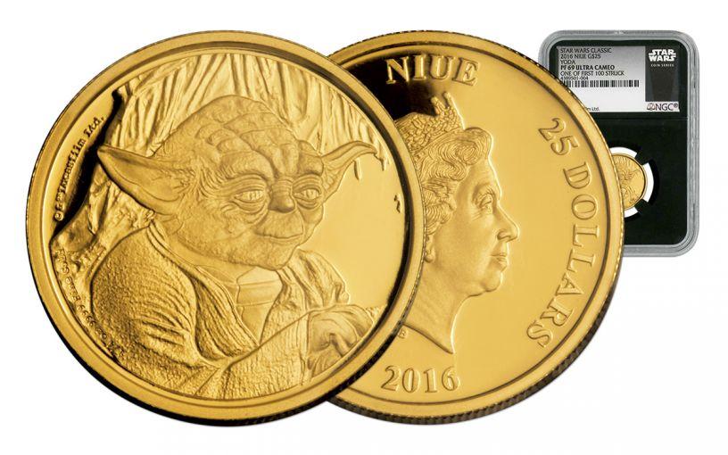 2016 Niue 25 Dollar 1/4-oz Gold Yoda NGC PF69UC First Struck