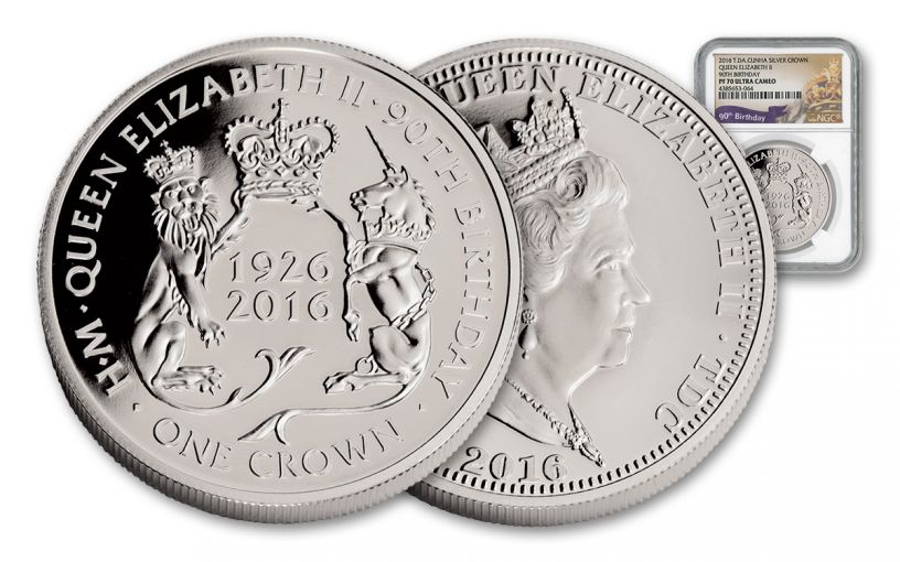 2016 Australia 1 Dollar 1-oz Silver Queen's 90th High Relief NGC PF70UCAM