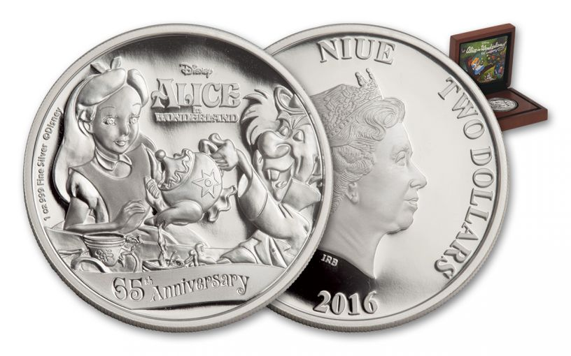 2016 Niue 2 Dollar 1-oz Silver Alice in Wonderland Proof