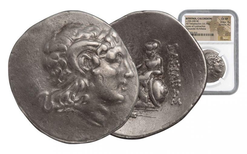 230-220 BC Chalcedon Lysimachus Tetradrachm Coin NGC Choice VF