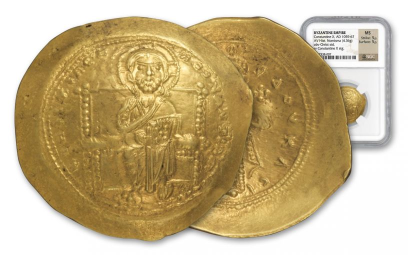 Ancient Constantine X Gold Hist Nomisma NGC MS