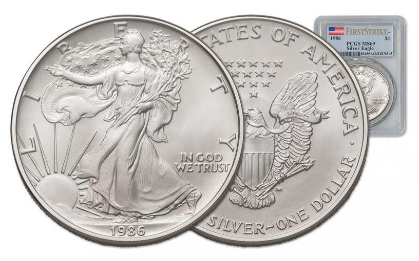 1986 1 Dollar 1-oz Silver Eagle PCGS MS69 First Strike