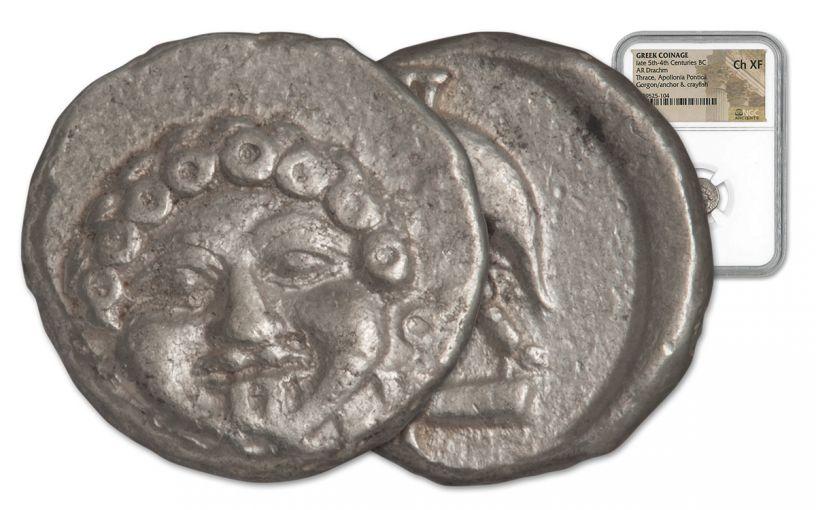 400 BC Greek Drachm of Apollonia NGC CH XF