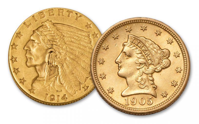 1840-1929 2.5 Dollar Gold Indian/Liberty XF 2 Pc Set