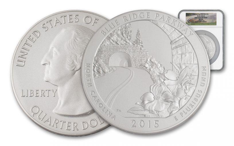 2015 25 Cent 5-oz Silver America the Beautiful Blue Ridge NGC SP70 FDI