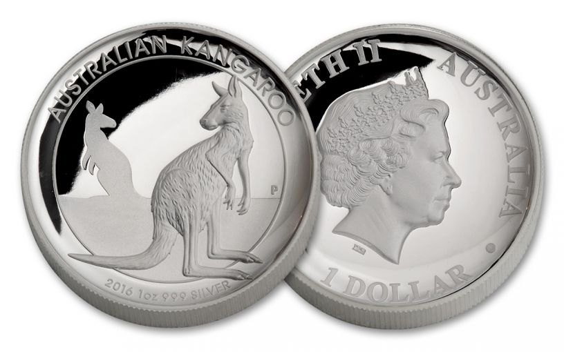 2016 Australia 1 Dollar 1-oz Silver Kangaroo High Relief Proof