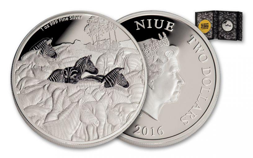 2016 Niue 2 Dollar 1-oz Silver Great Migrations Zebra Proof