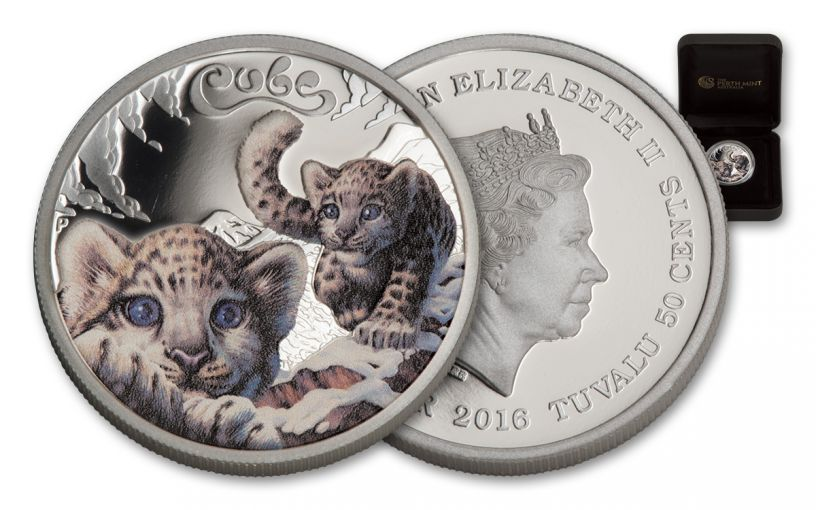 2016 Tuvalu 50 Cent 1/2-oz Silver Snow Leopard Cubs Proof
