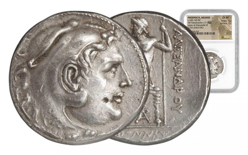 206-205 BC Alexander III Tetradrachm of Arados NGC CH XF