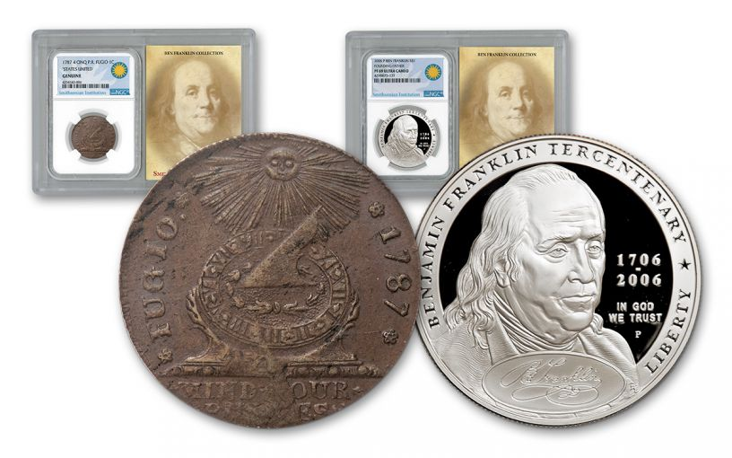 Benjamin Franklin 2 Pc Set NGC Genuine PF69 Smithsonian Coin Classics