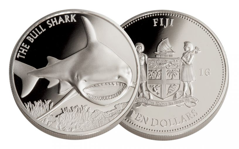 2016 Fiji 10 Dollar 5-oz Silver Bull Shark Gem Proof