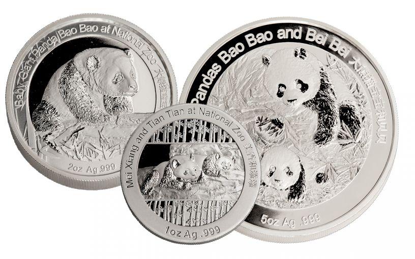 2014-2016 China Silver Smithsonian Panda Family 3-Piece Set NGC PF69UC