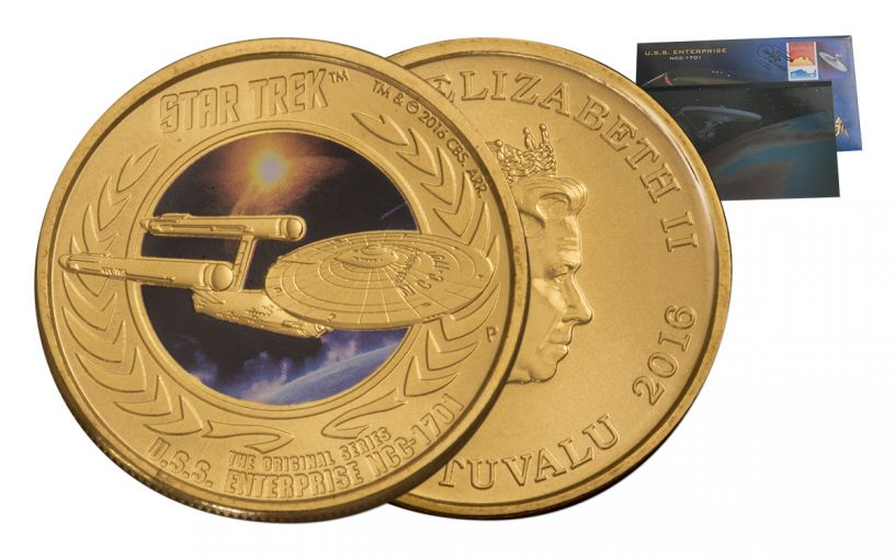 2016 Tuvalu Star Trek Enterprise Stamp and Coin Card Uncirculated