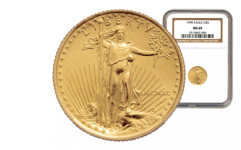 1990 5 Dollar 1/10-oz Gold Eagle NGC MS69