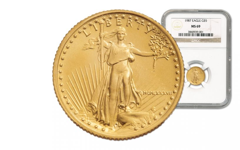 1987 5 Dollar 1/10-oz Gold Eagle NGC MS69
