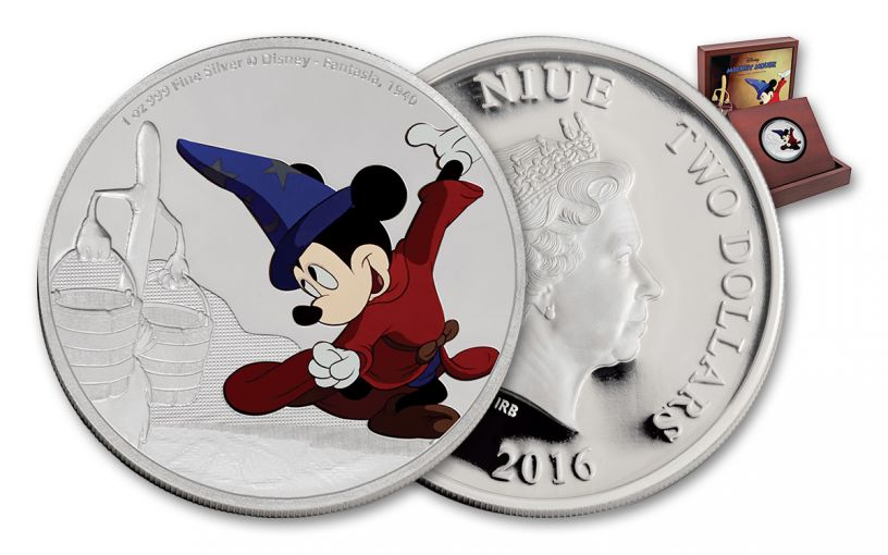 2016 Niue 2 Dollar 1-oz Silver Disney Mickey Fantasia Proof