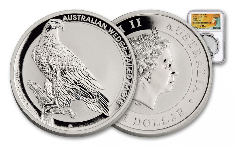 AUS 2016 1oz Silver Wedge Eagle NGC MS70 Mercanti ANA