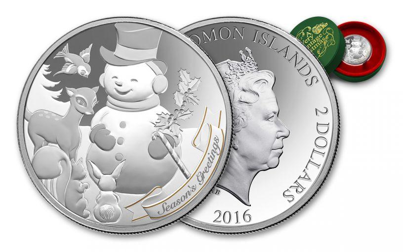 2016 Solomon Islands 2 Dollar 1-oz Silver A Very Vintage Christmas Snowman Proof-Like