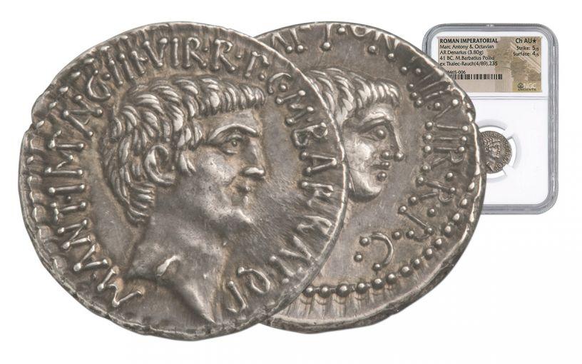 41 BC Silver Denarius Mark Anty & Octavian NGC CH AU*